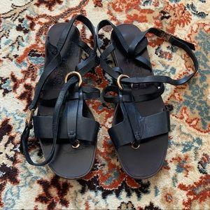 Salvatore Ferragamo Black Gladiator Sandals
